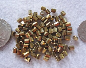100 Beads ~ Solid Brass Beads, Metal Spacer Beads, Small Brass Beads, Jewelry Beads, Brass Tube Beads, 3mm Brass Beads, Wholesale Bead Lots