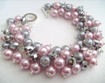 Pink and Silver Bracelet, Pearl Bracelet, Bridesmaids Bracelet, Beaded Bracelet, Cluster Bracelet, Pearl Bracelet - Designs by Kim Smith