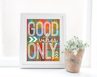 Good Vibes Only - A Motivational and Inspirational Watercolor Style Modern Wall Art Home Decor Print - Whimsical - Colorful - Happy & Bright