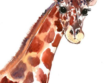 African Animals Artwork, Giraffe Portrait, Original watercolor painting, children room, kids wall art, giraffe art, africa