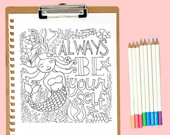 Mermaid Coloring Page Printable pdf INSTANT DOWNLOAD