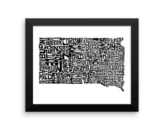 South Dakota typography map art FRAMED print customizable personalized state poster custom wall decor engagement wedding housewarming gift
