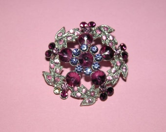 Pretty Vintage Rhinestone and Silver Tone Brooch.  Plum, Amethyst and Pink stones.