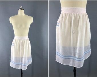 Vintage 1950s Apron / 50s Half Apron / Sheer Pastel Pink Apron / Cotton Organdy / Kitchen Cooking Apron