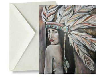 ADVIKA - blank card, indian, tribal, feminine, birthday, greeting, girls
