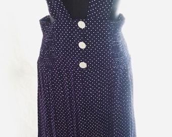"""70s Vintage Jumper-Suspenders-Midi Pleated Skirt-Spring-Office-Secretary-Student-Polka Dot-Size 10-Medium-32"""" waist"""