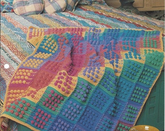 Baubles & Blocks Crochet Afghan Pattern, Annie's Crochet Quilt and Afghan, Crochet Blanket Bedspread, Home Decor, Bedding, Couch Throw
