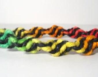 Black Rainbow Spiral Hemp Bracelet - Made to Order