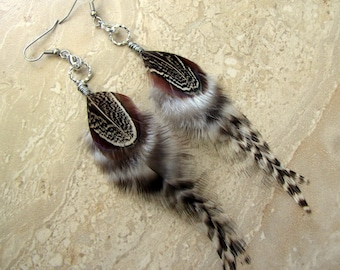 Feather Earrings - Black and White Striped Grizzly Feathers - Autumn Song