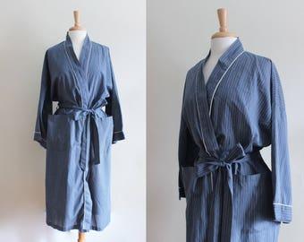 Vintage Lightweight Blue Stripe Duster Robe