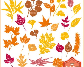 Instant Downloads, 25 Fall Leaves Digital Clip Art. Personal and Small Commercial Use. BP 0471