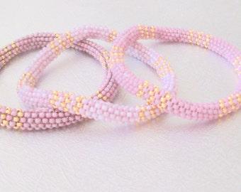 pink roll on bracelet beaded seed bead bangle Nepal bracelet boho bracelet bead jewelry