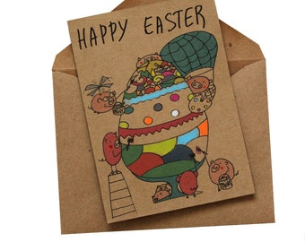 Funny Easter Card/ Cute Easter Card/ Whimsical Easter cards/ Colorful Egg Easter card/ Easter Cards for kids/ Pig Easter card/