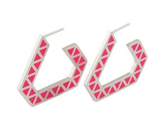 Iso tronqué triangle hoop earrings - large