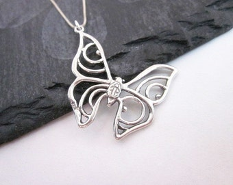 Silver Wing Charm Necklace -- Sterling Butterfly Pendant Necklace -- Filigree Butterfly Necklace -- Butterfly Necklace Gift -- Butterfly