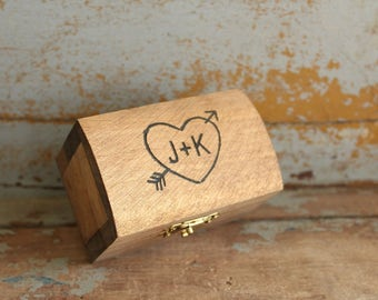 Engraved Ring Box | Rustic Wood Ring Box | Ring Bearer Pillow Alternative | Wedding Ring Box | Ring Keepsake Box Ring Holder | Free Shipping