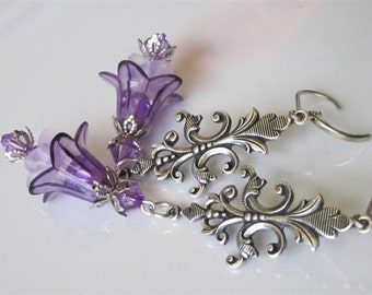 Lucite Flower Earrings, Purple Flower, Flower Earrings, Antiqued Silver Chandelier, Violet Flower