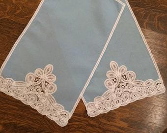 Vintage Pair Of Tea Towels, Blue With Battenburg Lace Trim, Finger Tip Towels, Hostess Gift, Shabby Chic, Farmhouse, Tea Party, Vintage Gift