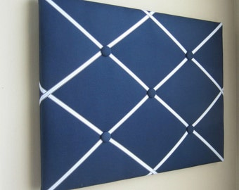 "16""x20"" French Memory Board, Bow Holder, Bow Board, Vision Boad, Photograph Holder, Organizer,Navy Blue and Light Blue Boys Memory Board"