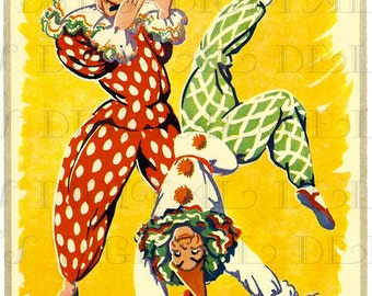 Fab Fun Mid Century CLOWNS.  Vintage Clowns. Vintage Circus Illustration. Vintage Clown Circus Digital DOWNLOAD.