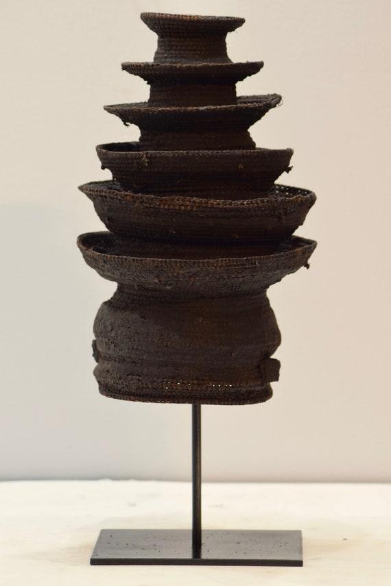 African Hat Botolo Cylindrical Tiered Rattan Hat Ekonda Ntumba Tribes African Congo
