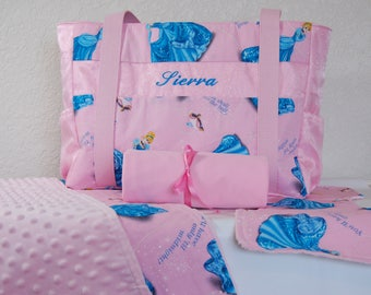 Diaper bag set made from Cinderella fabric