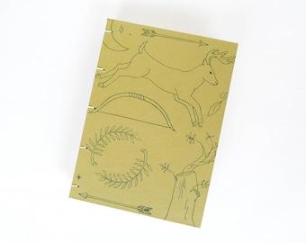Aretmis Journal / Letterpress Gold Blank Notebook / Greek Mythology Journal / Hand Bound Coptic Book