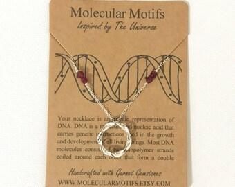 DNA Pendant-Choose Your Own Birthstone-Gemstone Pendant-Infinity Pendant-Genetics Gift-Science Gift-Graduation Gift-Teacher Gift-Doctor Gift