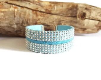Blue sky and rhinestone suede Cuff Bracelet