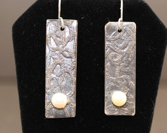 Antiqued Sterling Silver Etched Earrings with Pearls (050318-005)
