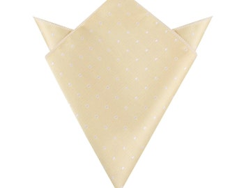 Champagne White Dots Pocket Square (M628-PS) Men's Wedding Handkerchief Groomsmen Men Hanky Hankie Squares Bridal Suit Mens