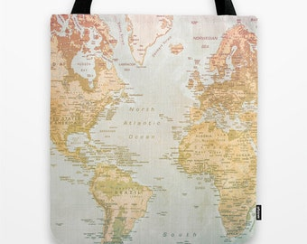 World Map Tote Bag, Tote Bag, Pastel Colors, Colorful Art, Map, World artwork,  Travel Bag, Pastel Tote Bag, Countries, Continent, World