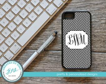 Black & White Herringbone Personalized Phone Case (Tough)