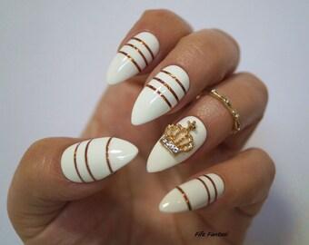 White Stiletto Nails, Nail art, Fake nails, Stiletto nails, Kylie Jenner, Press on nails, Acrylic nails, Gold nails, Glue on nails, nails