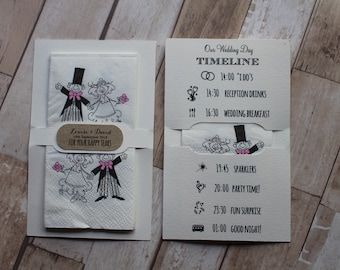 Personalised wedding tissues-Order of service-Timeline-Order of the day