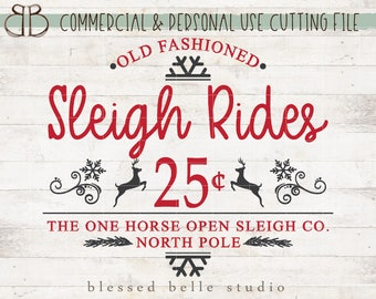 Sleigh Rides SVG, Christmas svg, eps, dxf, png cut file, Silhouette, Cricut