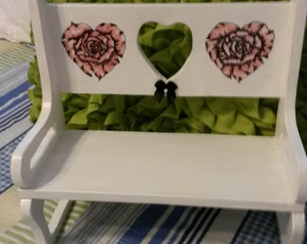 Shelf Bench Vintage Handmade UpCycled Cottage Chic Pen Ink Rose Hearts Home Decor Country Decor Table Decor Centerpiece One of a Kind Gift