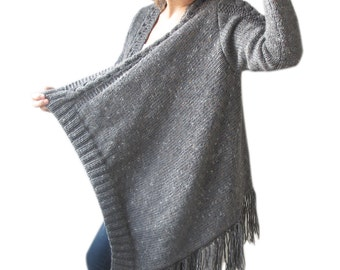 Plus Size Cardigan with Fringe - Tweed Dark Gray by Afra