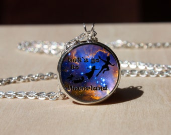 Handmade Peter Pan Necklace, Glass dome Pendant, gift for Her Him, nekel free jewelry