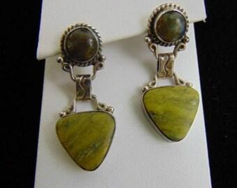 Vintage Estate Sterling Silver Southwestern Navajo Murphy Platero Earrings, 11.3g E3657