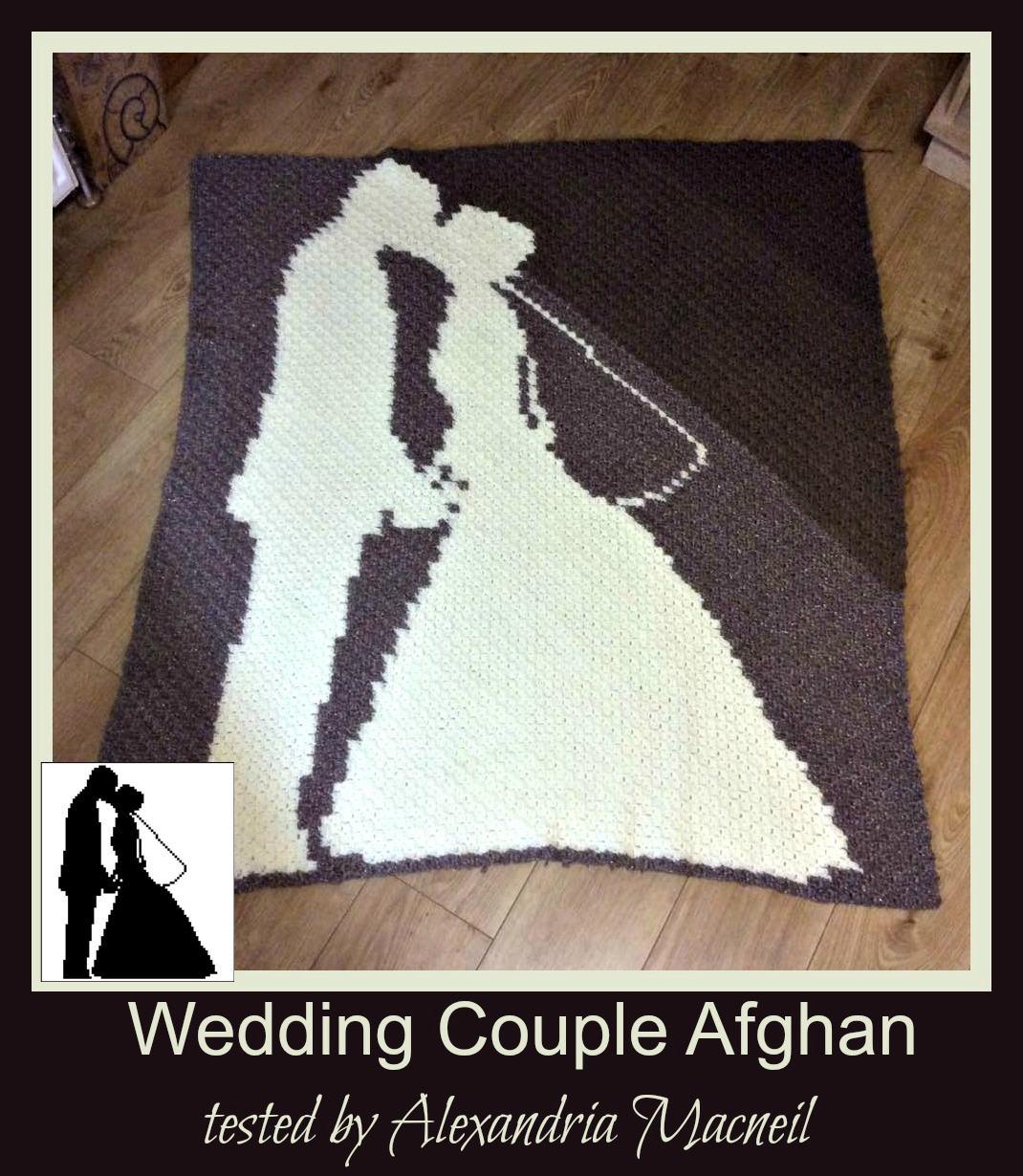 wedding couple afghan  c2c graph  crochet pattern