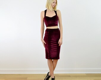 SPECIAL EDITION Kirsten Crop Top and Pencil Skirt Set in Stretch Red Velvet. Christmas Party Dress, Going Out Dress Velour Two Piece Outfit