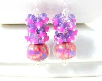 Amethyst & Pink Jade Dangle Earrings, Gemstone Earrings, Boro Lampwork Earrings, Purple Pink Yellow Earrings, Colorful Earrings Banana Split