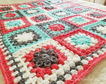 Granny's Flower Garden Baby Afghan - Granny Square Blanket - Mint and Coral - Baby Blanket - Throw Blanket - Nursery Decor - Baby - Newborn