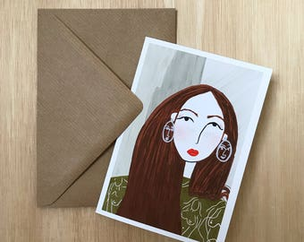 Girl in green - A6 greetings card