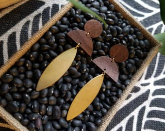 Cairo Earrings // Geometric wood earrings adorned with gold accents
