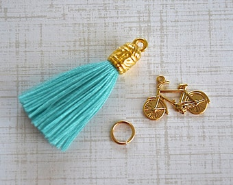 Blue Turquoise Gold Cap Tassel - Bike Charm - Jump Ring - Three Pieces Set Pendant - DreamJewelrySupplies