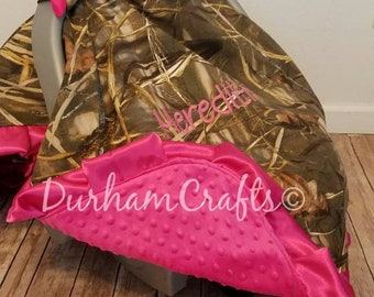 Personalized Camo Blanket/Nursing cover  Canopy for Car Seat with Minky Back and Ruffles