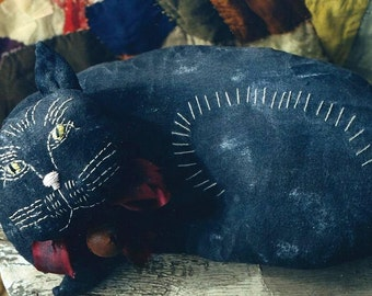 Primitive Cat  Pattern EPattern Pillow  PDF Embroidery Old Vintage  Antique Style Folkart Folk Art  by Hickety Pickety AS28