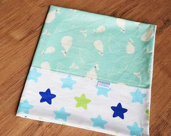 Baby boy blanket - Baby blanket - Flannel Blanket - Baby girl blanket - Swaddle blanket- Security Blanket - Travel blanket - Mint Whale
